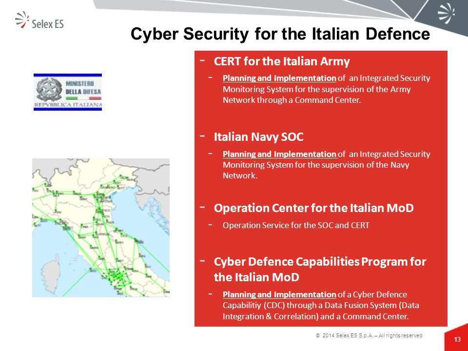 Cyber Security for the Italian Defence