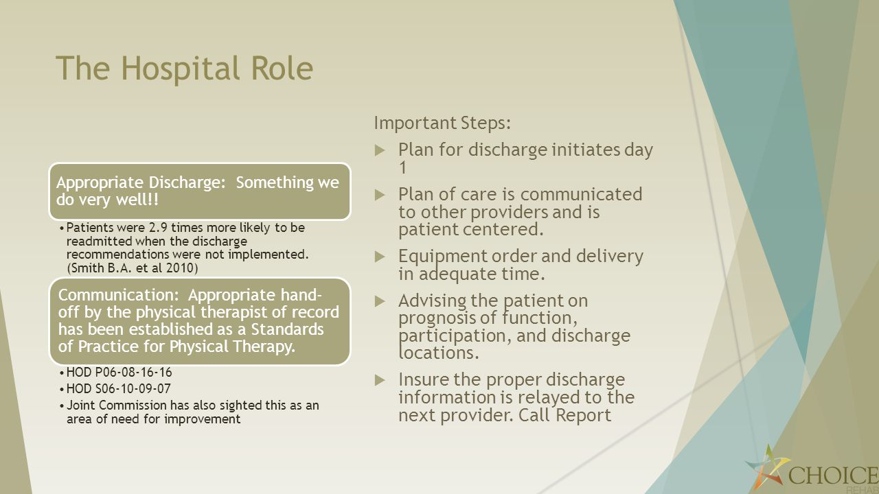 The Hospital Role Important Steps: Plan for discharge initiates day 1