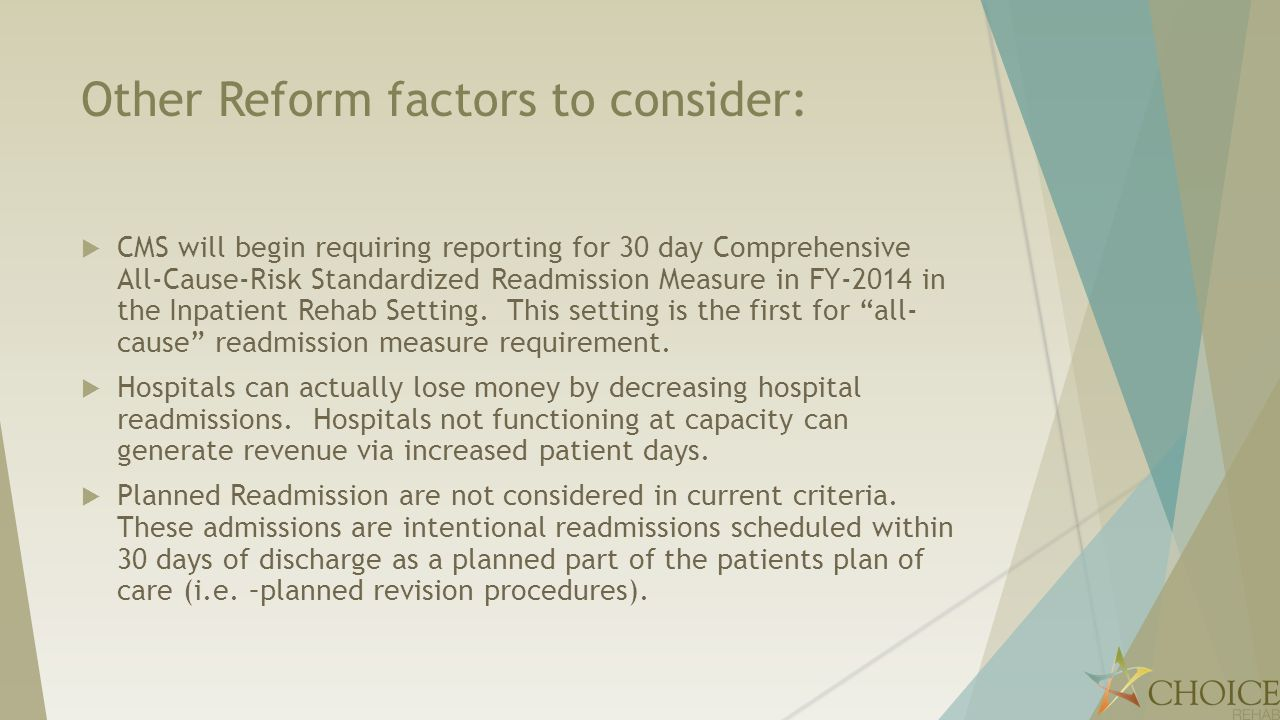 Other Reform factors to consider: