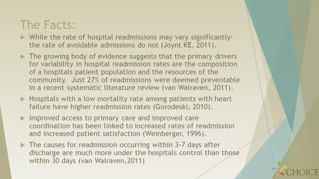 The Facts: While the rate of hospital readmissions may vary significantly– the rate of avoidable admissions do not (Joynt KE, 2011).