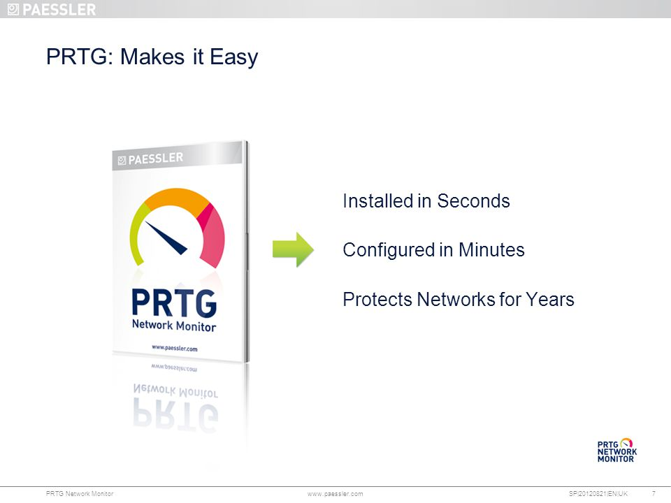 PRTG: Makes it Easy Installed in Seconds Configured in Minutes