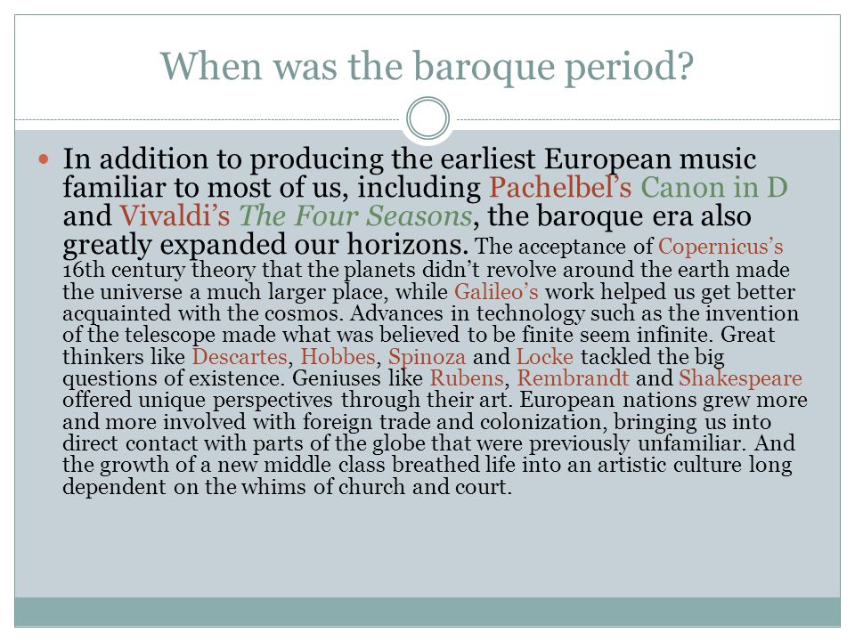 When was the baroque period
