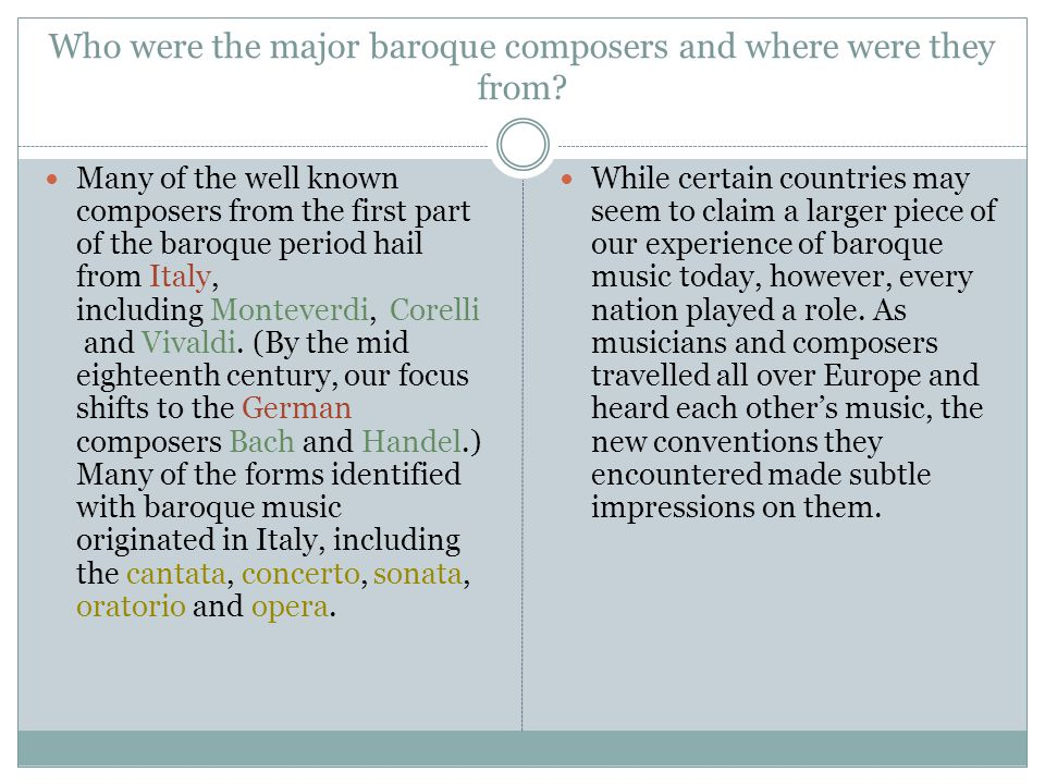 Who were the major baroque composers and where were they from