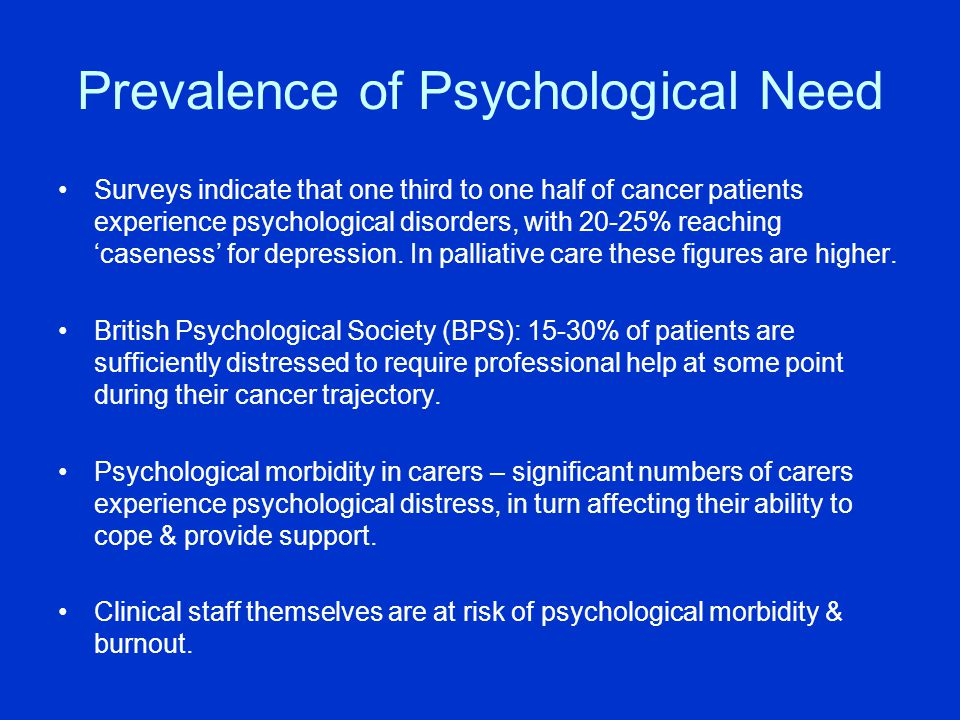 Prevalence of Psychological Need