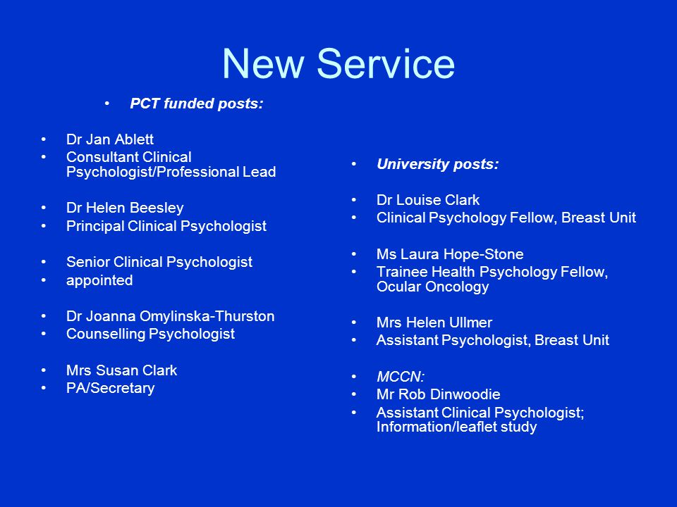 New Service PCT funded posts: Dr Jan Ablett
