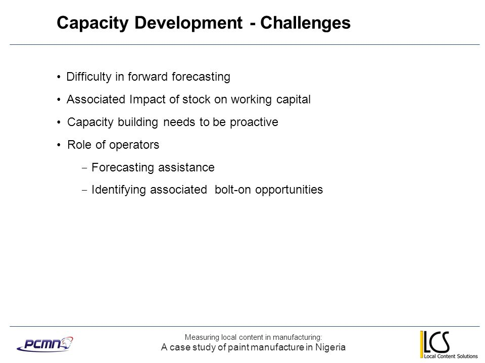 Capacity Development - Challenges