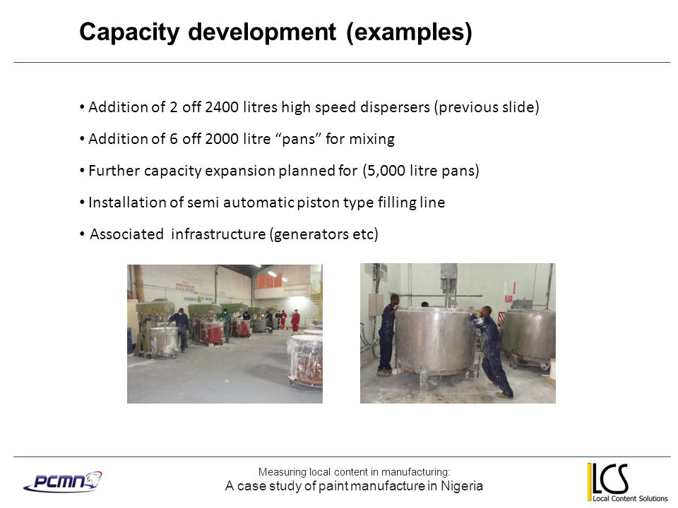 Capacity development (examples)