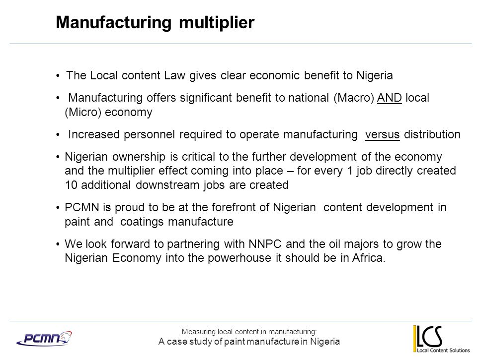 Manufacturing multiplier