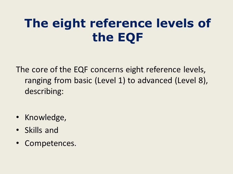 The eight reference levels of the EQF