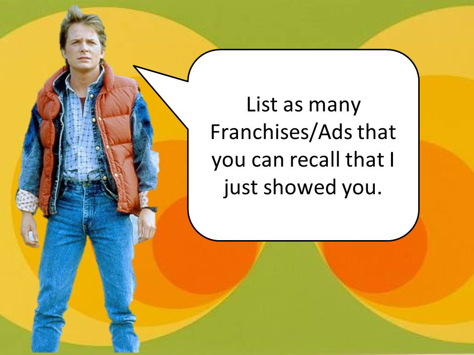 List as many Franchises/Ads that you can recall that I just showed you.