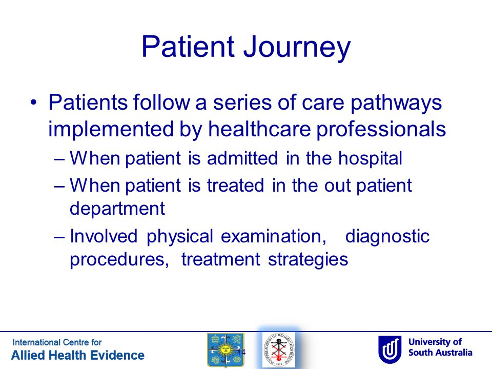 Patient Journey Patients follow a series of care pathways implemented by healthcare professionals. When patient is admitted in the hospital.
