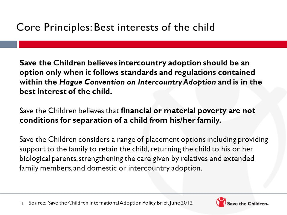 Core Principles: Best interests of the child