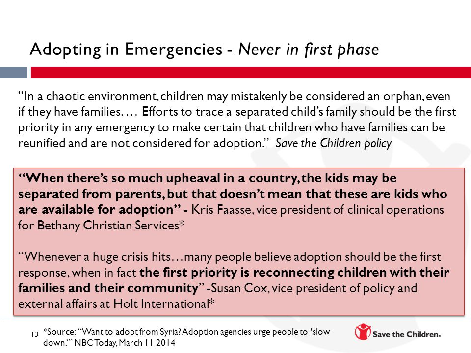 Adopting in Emergencies - Never in first phase