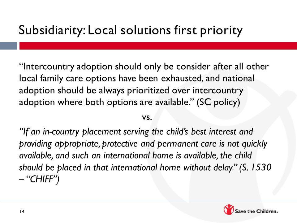 Subsidiarity: Local solutions first priority