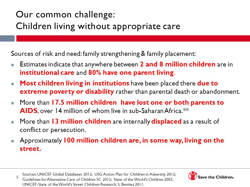 Our common challenge: Children living without appropriate care