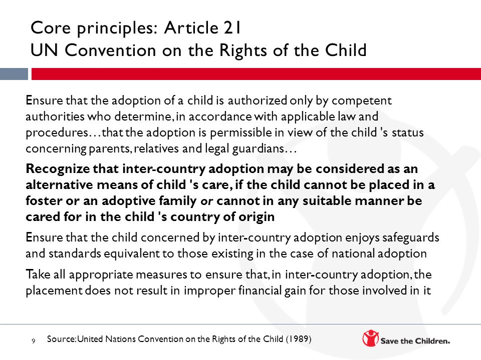 Core principles: Article 21 UN Convention on the Rights of the Child