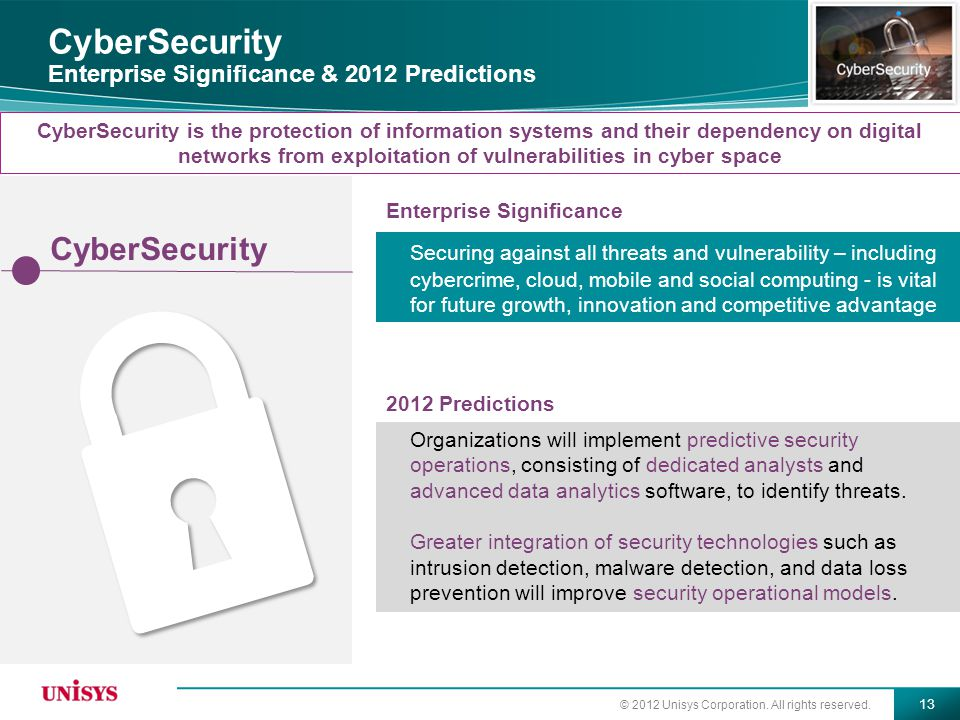CyberSecurity Enterprise Significance & 2012 Predictions