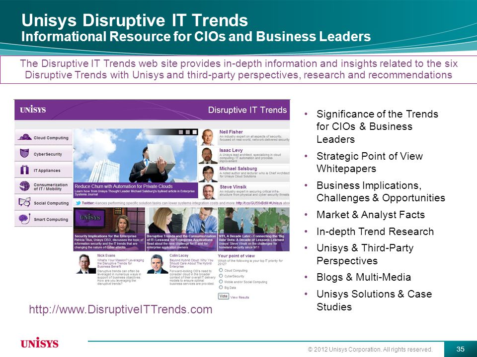 Unisys Disruptive IT Trends Informational Resource for CIOs and Business Leaders