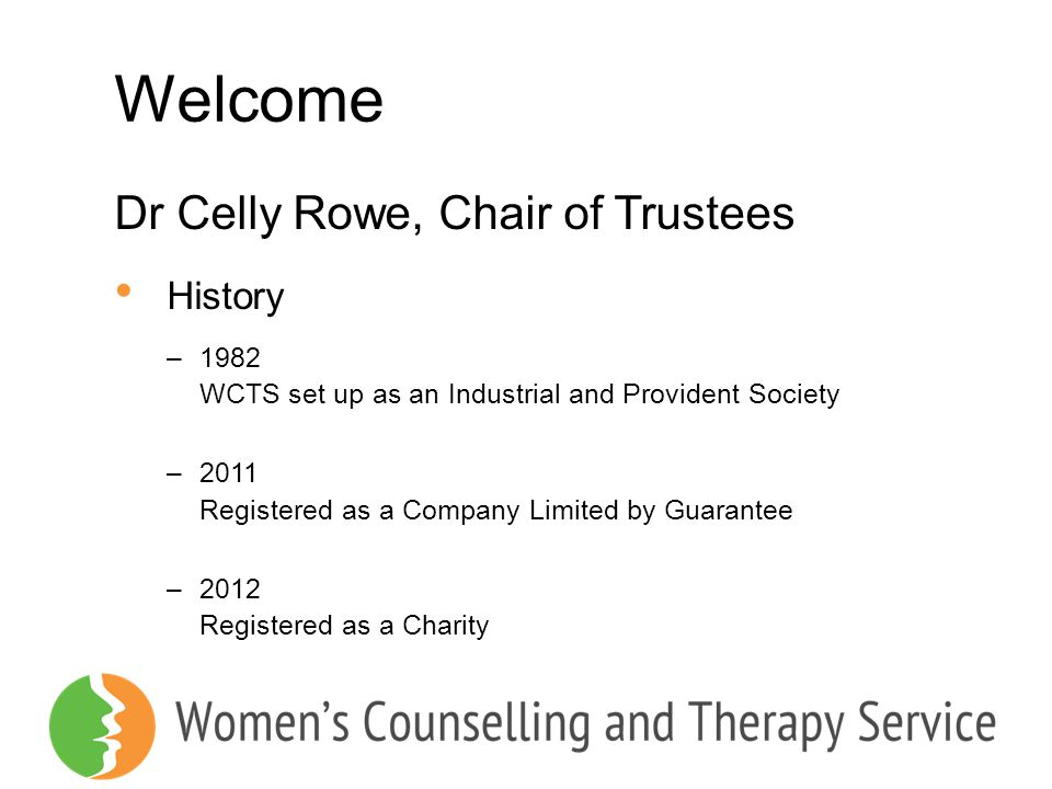 Welcome Dr Celly Rowe, Chair of Trustees History 1982