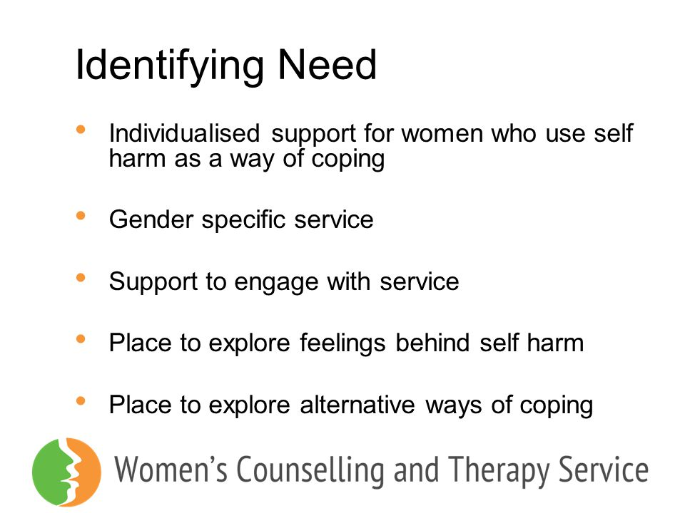 Identifying Need Individualised support for women who use self harm as a way of coping. Gender specific service.
