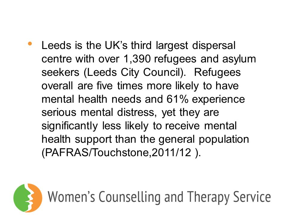 Leeds is the UK's third largest dispersal centre with over 1,390 refugees and asylum seekers (Leeds City Council).