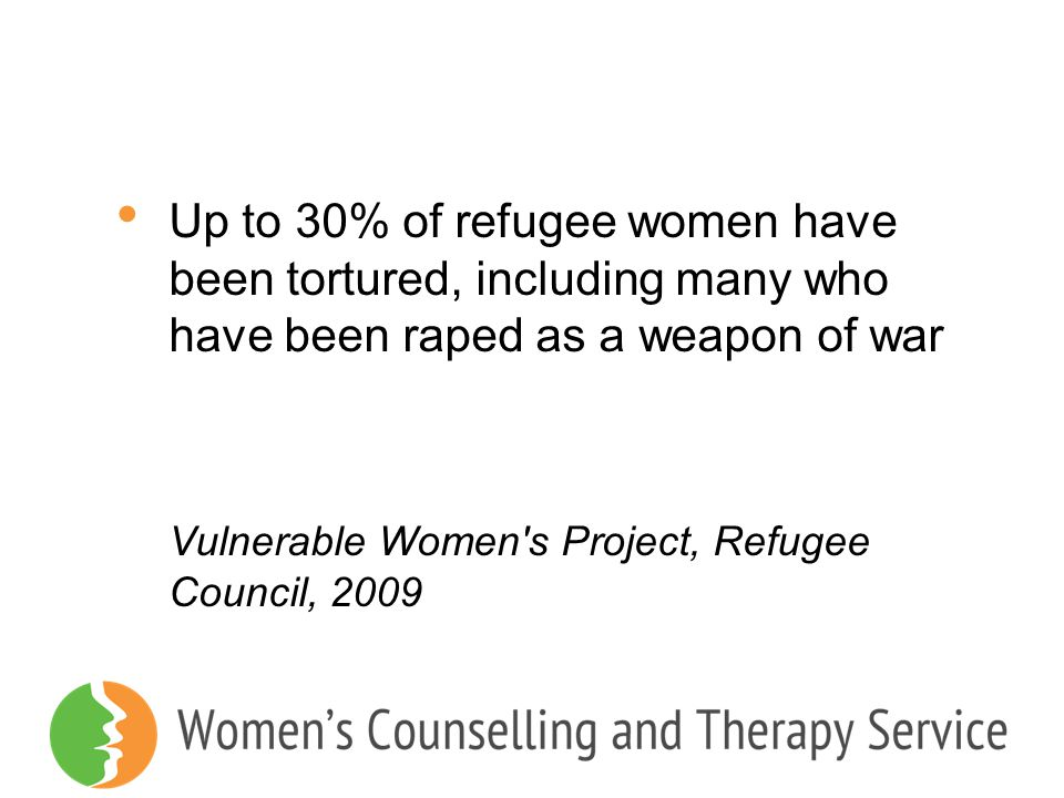 Up to 30% of refugee women have been tortured, including many who have been raped as a weapon of war