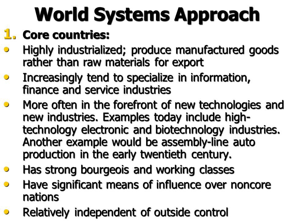 World Systems Approach