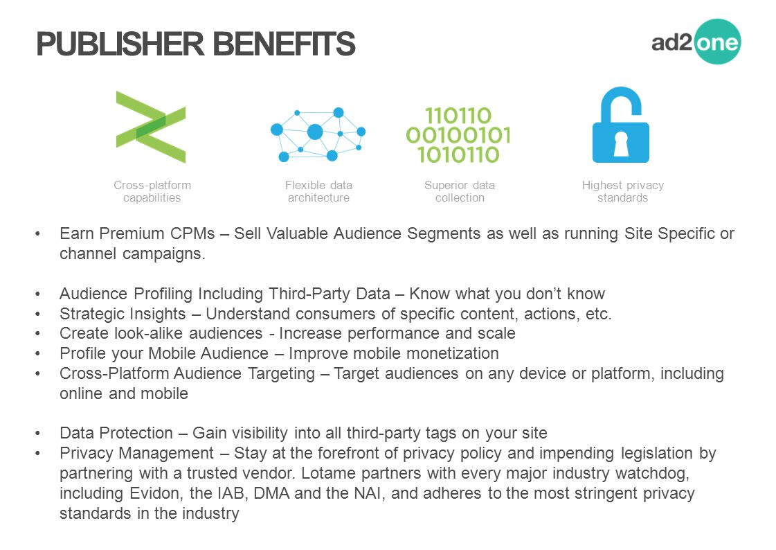 PUBLISHER BENEFITS Cross-platform. capabilities. Flexible data architecture. Superior data. collection.