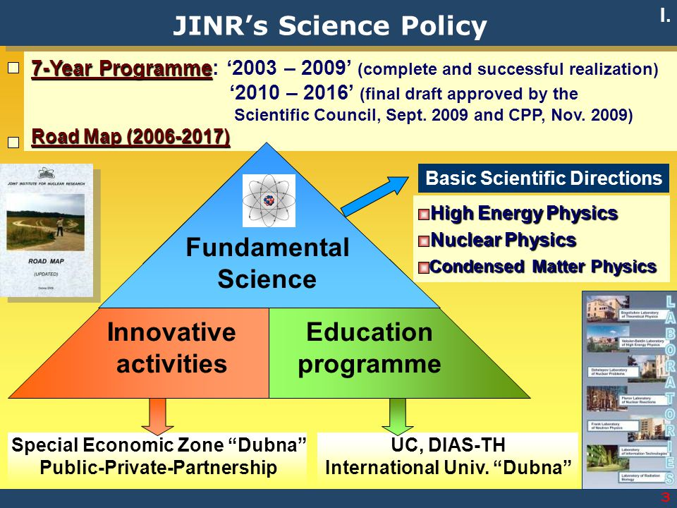 JINR's Science Policy Fundamental Science Innovative activities