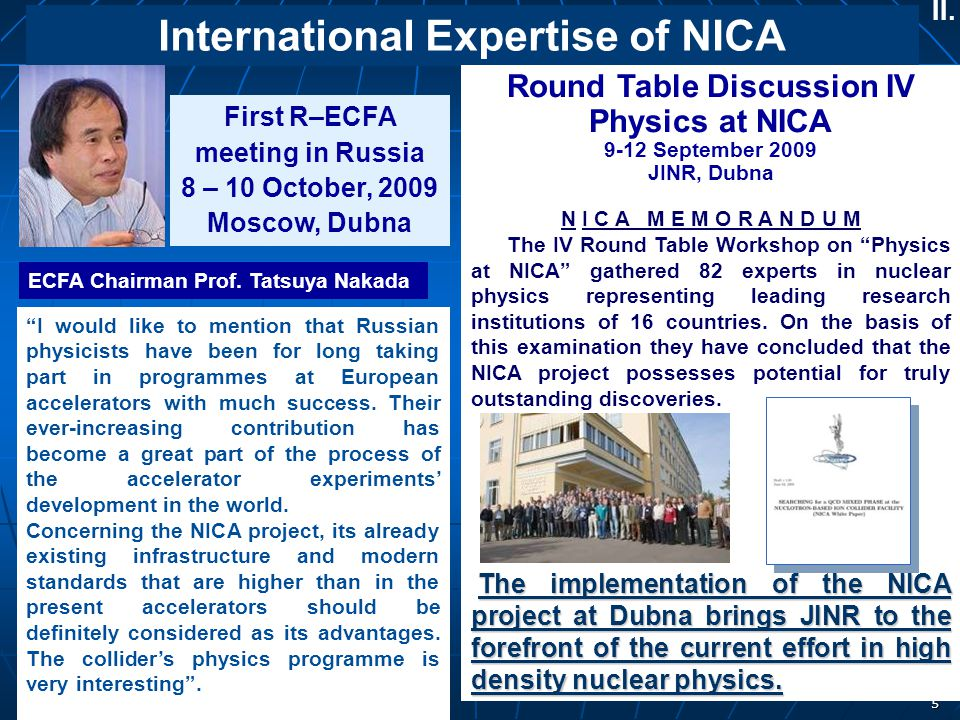 International Expertise of NICA