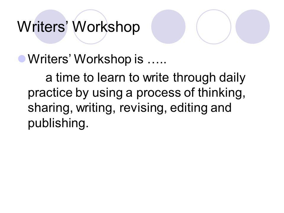 Writers' Workshop Writers' Workshop is …..
