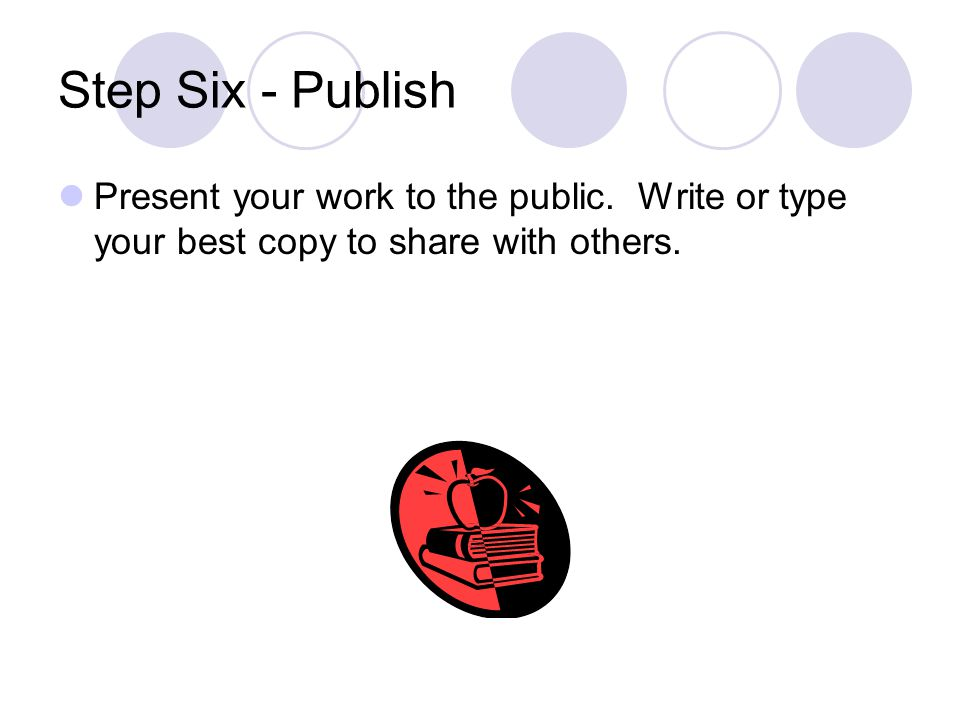 Step Six - Publish Present your work to the public.