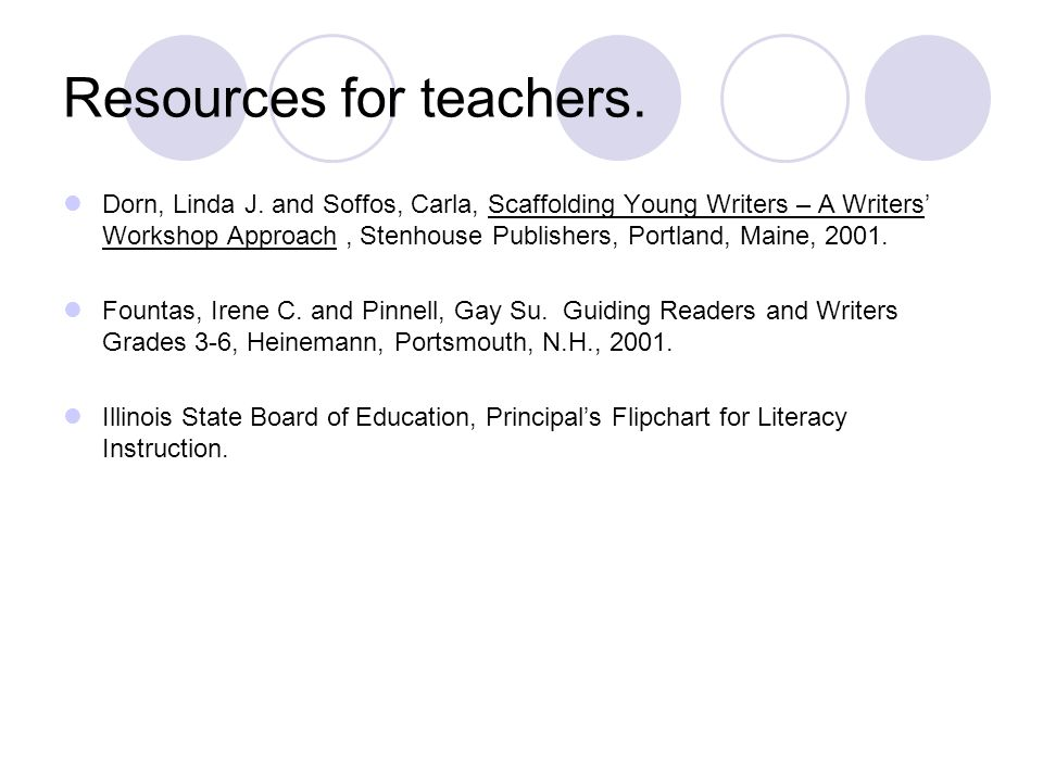 Resources for teachers.