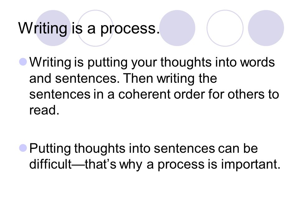 Writing is a process. Writing is putting your thoughts into words and sentences. Then writing the sentences in a coherent order for others to read.
