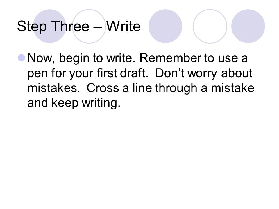 Step Three – Write