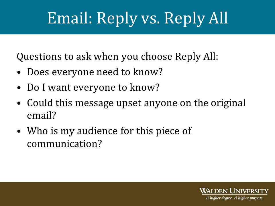 Email: Reply vs. Reply All
