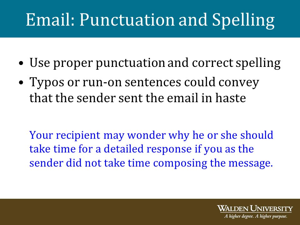 Email: Punctuation and Spelling