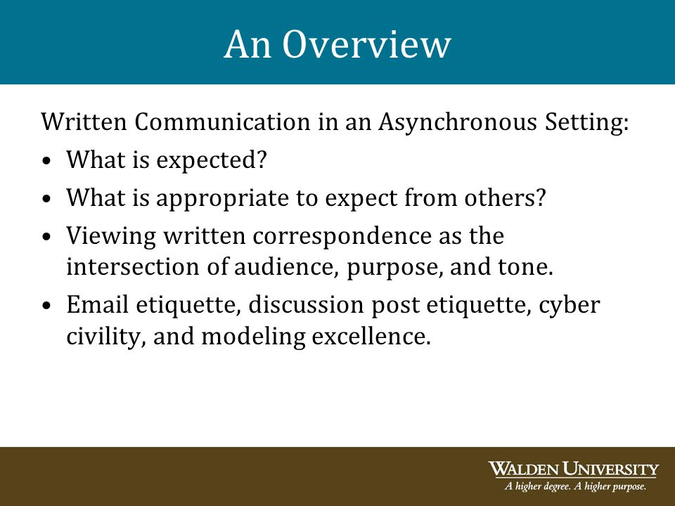 An Overview Written Communication in an Asynchronous Setting: