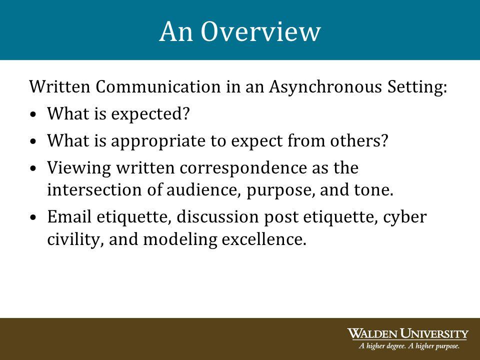 An Overview Written Communication in an Asynchronous Setting: