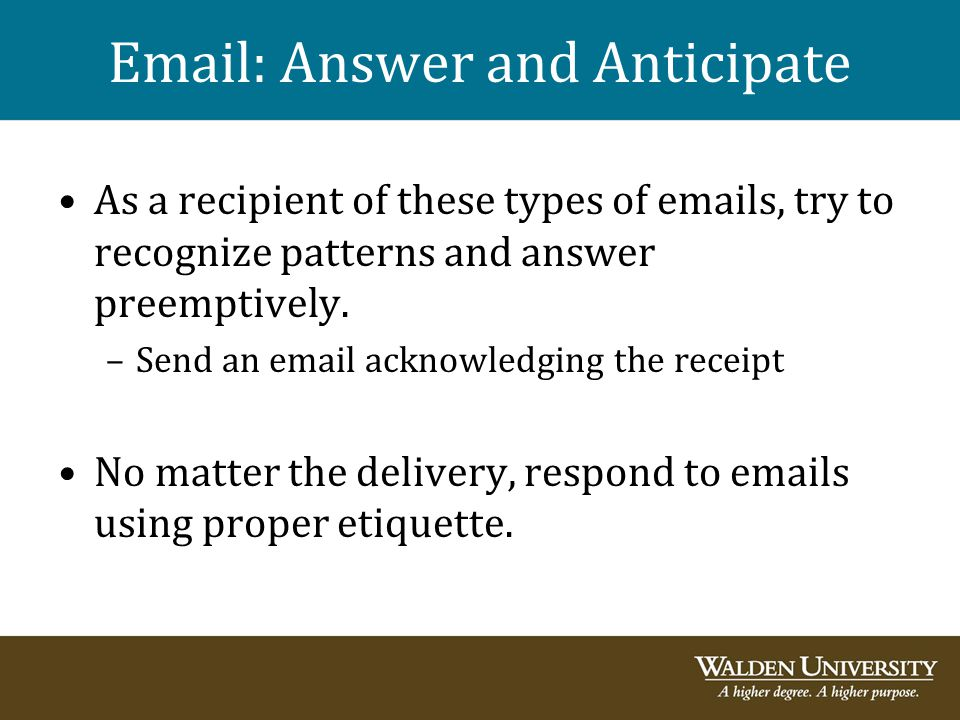 Email: Answer and Anticipate