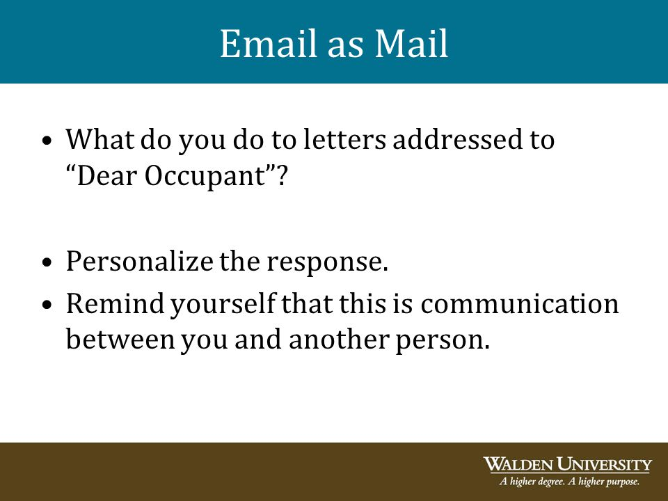Email as Mail What do you do to letters addressed to Dear Occupant