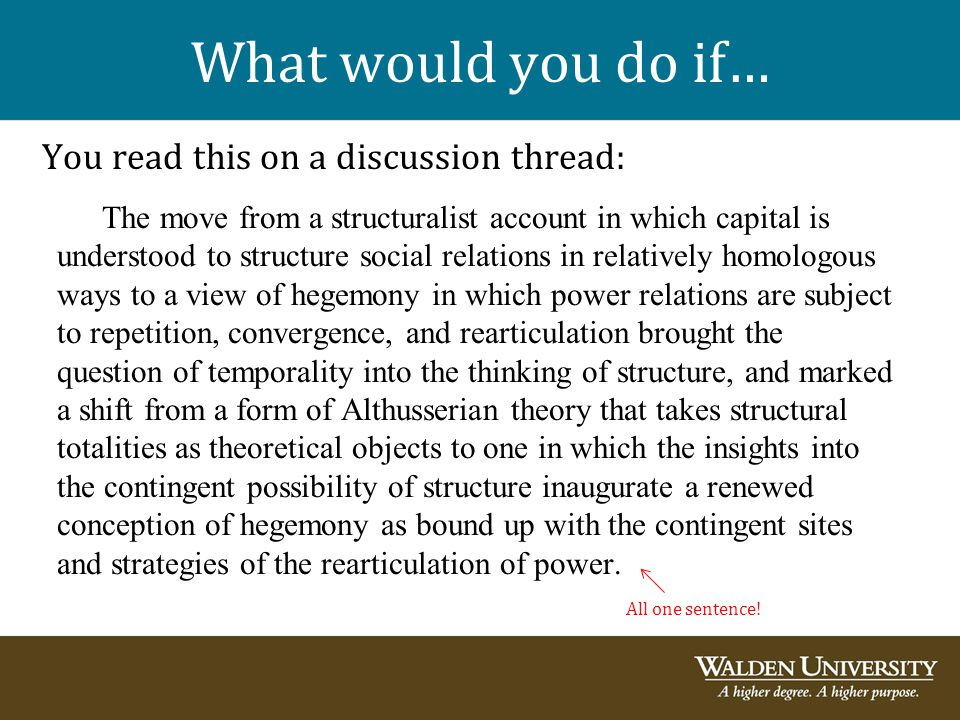 What would you do if… You read this on a discussion thread:
