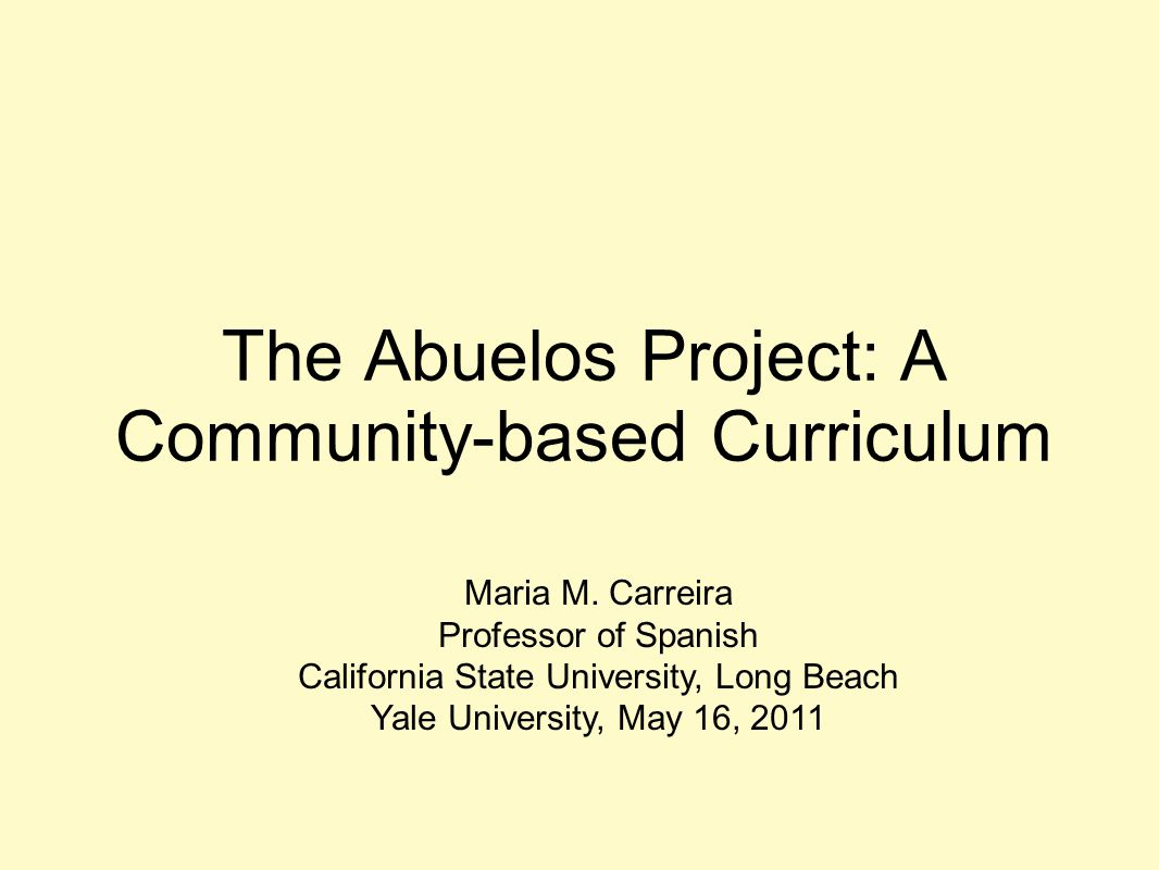 The Abuelos Project: A Community-based Curriculum