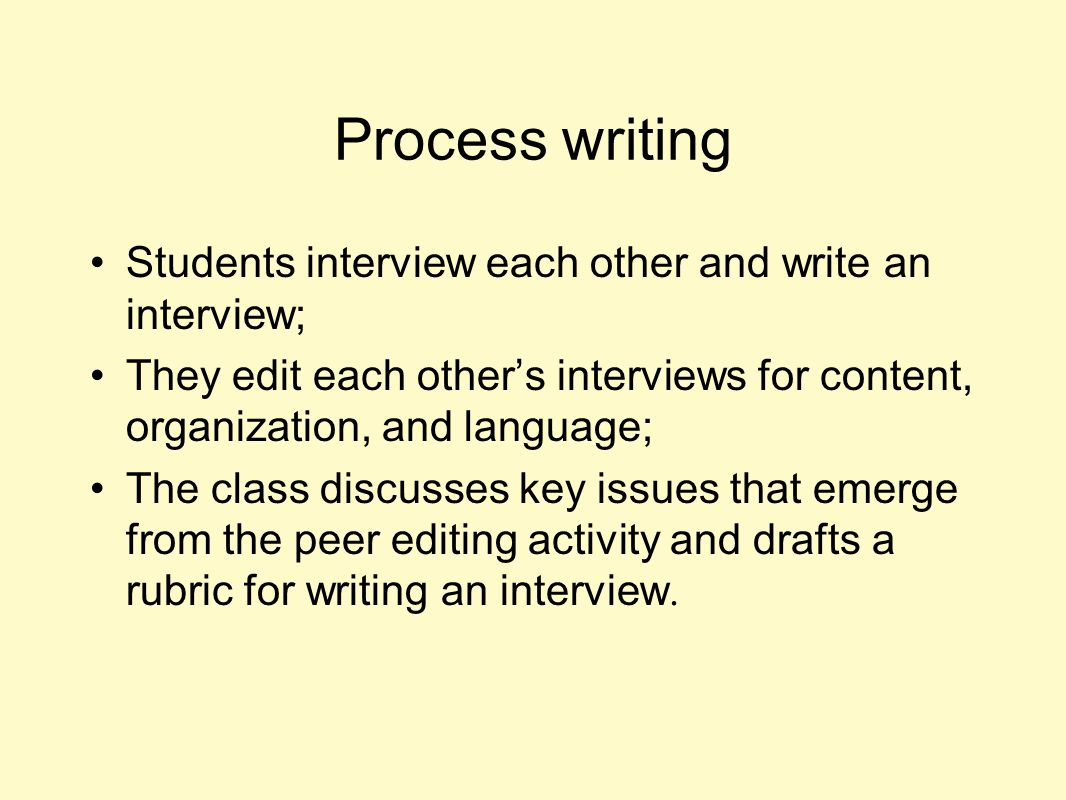 Process writing Students interview each other and write an interview;