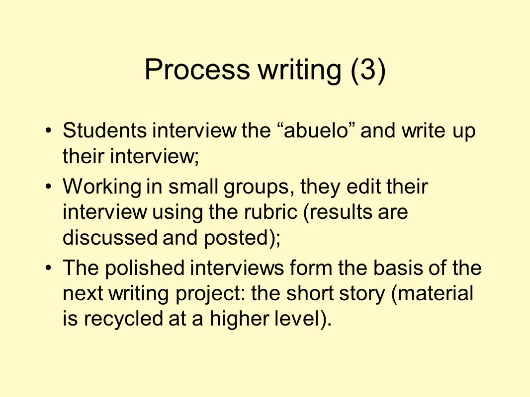 Process writing (3) Students interview the abuelo and write up their interview;