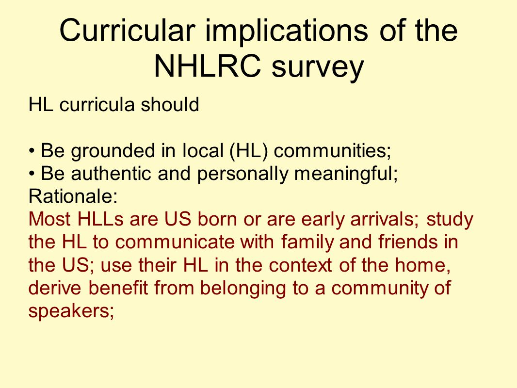 Curricular implications of the NHLRC survey