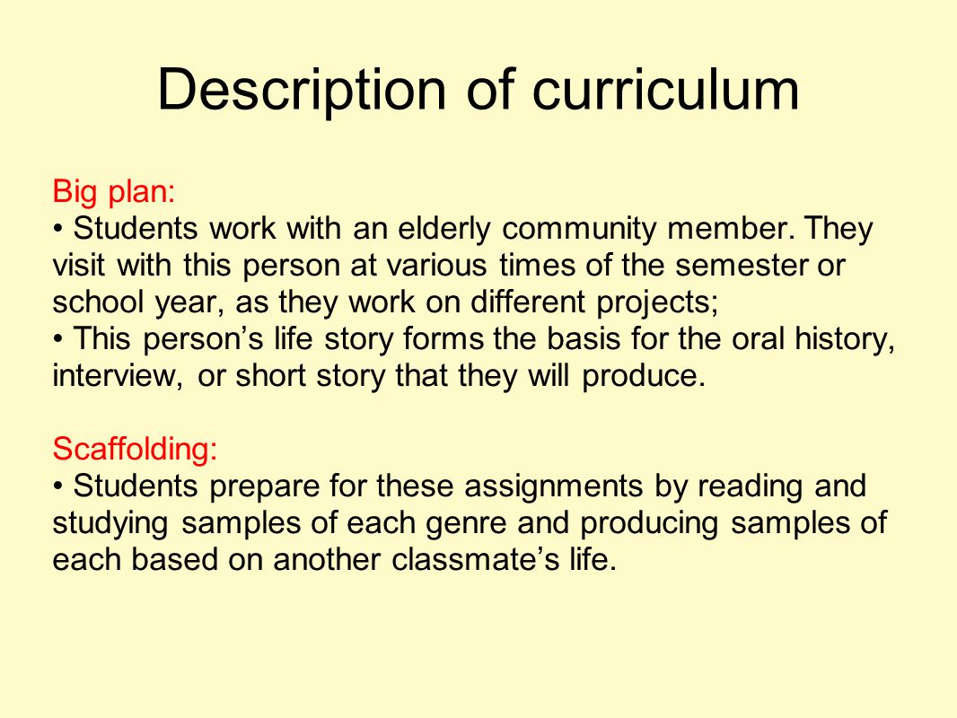 Description of curriculum