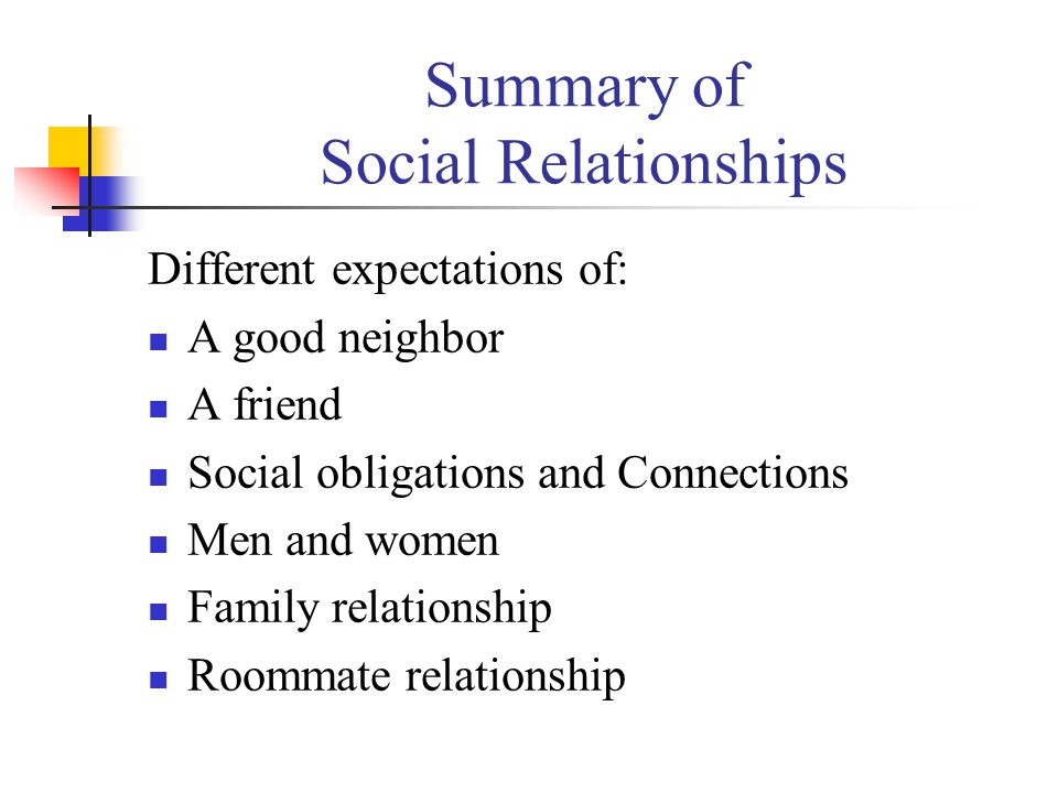 Summary of Social Relationships