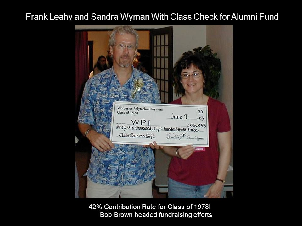 Frank Leahy and Sandra Wyman With Class Check for Alumni Fund