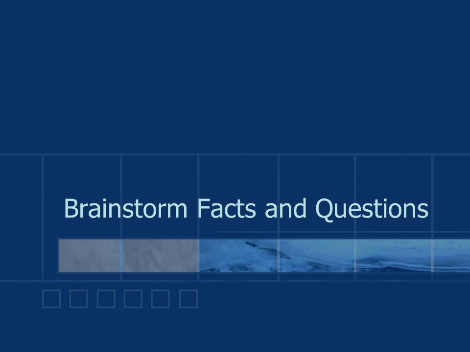 Brainstorm Facts and Questions